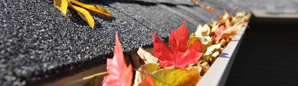 dakgoot met rood-gele bladeren
